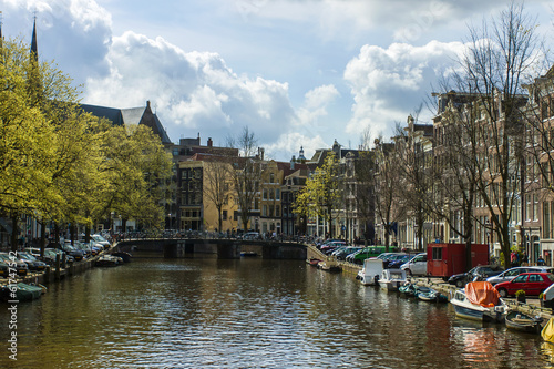Photo  Amsterdam, The Netherlands. Canal in the central part of the cit