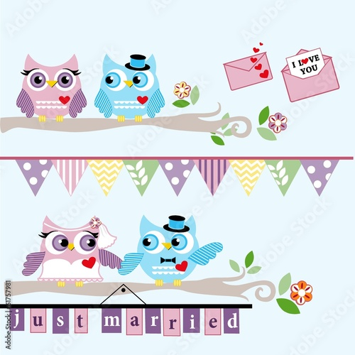 Photo Stands Owls cartoon Wedding Owl, Lover Owl Clip Arts