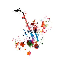 FototapetaColorful music background with saxophone