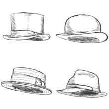 Vector Set Of 4 Sketch Hats