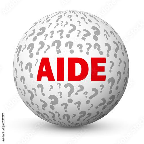 "Fotografía  Globe ""AIDE"" (questions support points d'interrogation FAQ info)"
