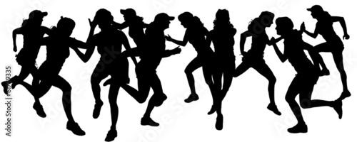 Deurstickers Dance School Vector silhouette of a woman.