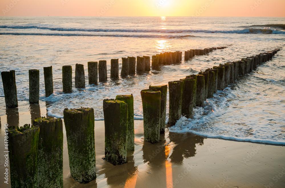 Fototapeta Breakwaters on the beach at sunset in Domburg Holland