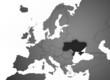 3D Europakarte grau / weiß mit Ukraine