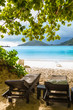 sunbeds on the beach in Seychelles