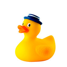 Rubber Toy Duck With Blue Hat Isolated On White