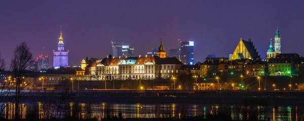 Panel Szklany Miasto Nocą Warszawa