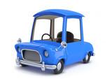 3d Blue cartoon car left view
