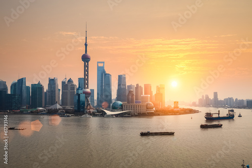 Foto op Aluminium Shanghai beautiful dusk with shanghai skyline