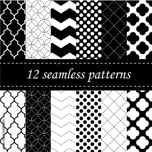 Photo Twelve seamless geometric patterns