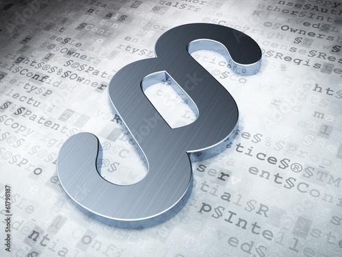 Fotografie, Obraz  Law concept: Silver Paragraph on digital background