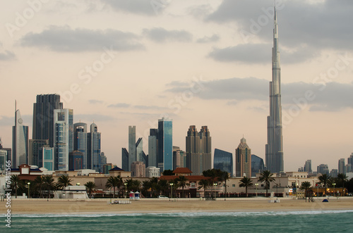 Downtown of Dubai (United Arab Emirates). View from the beach Canvas Print