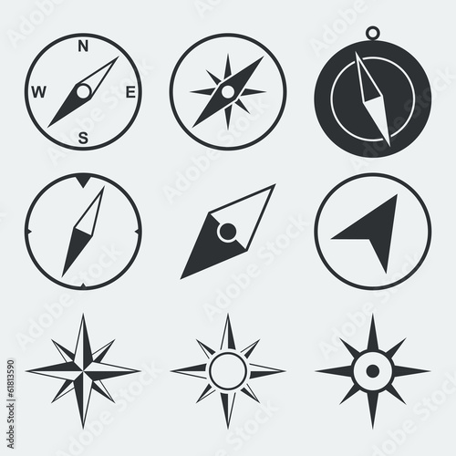 Foto Navigation compass flat icons set