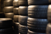 Car Tyres Stacked In A Tyre Distribution Centre