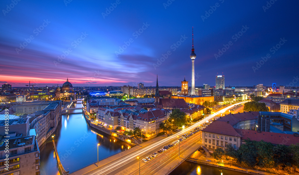 Fototapeta Berlin Skyline City Panorama with Traffic and Sunset