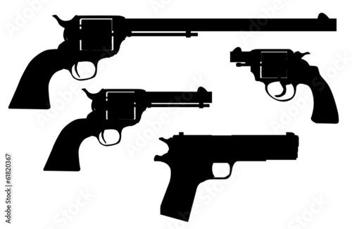 Photographie  Silhouettes de pistolet à main