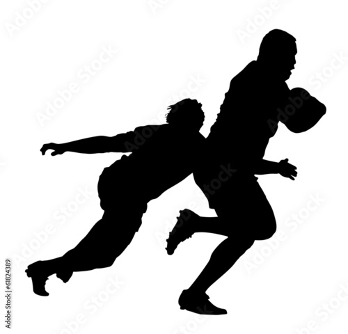 Side Profile of Rugby Player Tackling Runner With Ball Poster