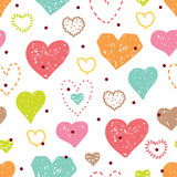 Cute heart. Seamless pattern.