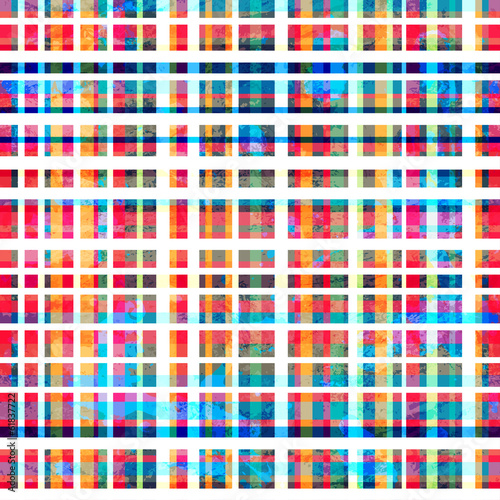 Photo  colorful grid seamless pattern with grunge effect