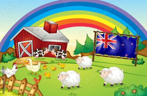 Poster Ranch A farm with a rainbow and a framed flag of New Zealand
