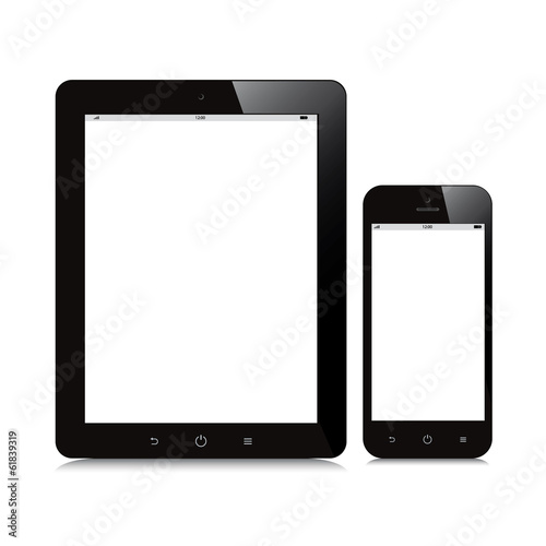 Fotografia  tablet and smartphone blank screen mockup white background