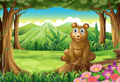 Canvas Prints Bears A big brown bear above the stump