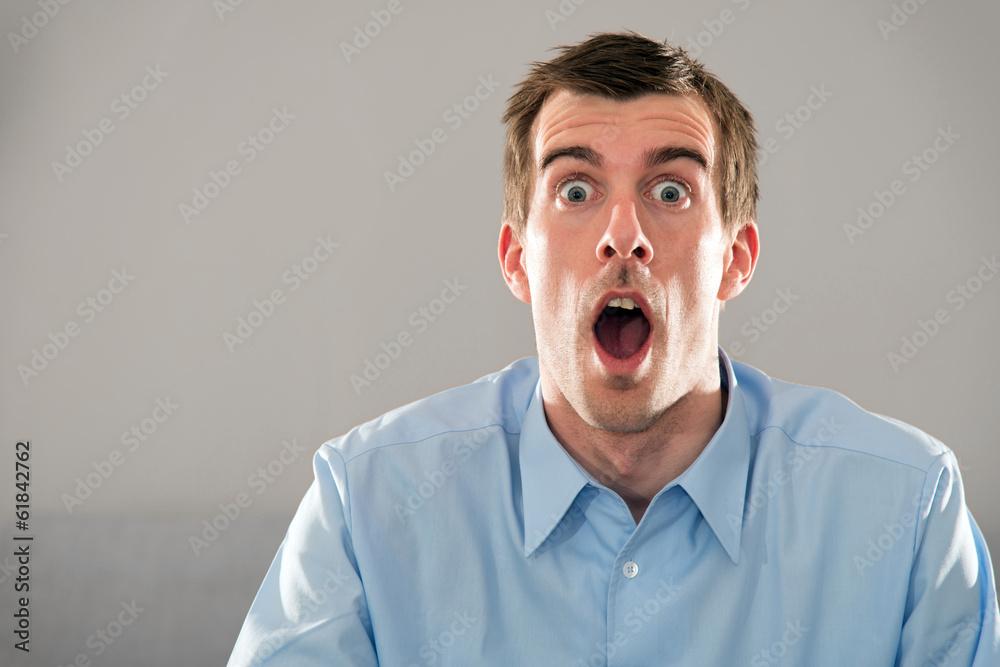 Photo Art Print Mimik Gesicht Junger Mann Blaues Hemd Kurze