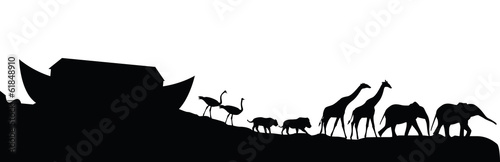 Fotografiet Noeh's ark and animals isolated on white, vector