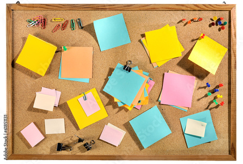 Editable Blank Post Its And Office Supplies On Message Board.