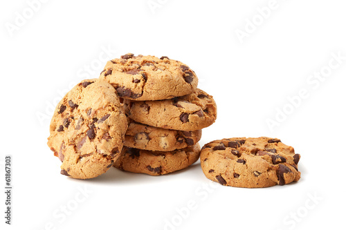 Photo  chocolate cookies on white