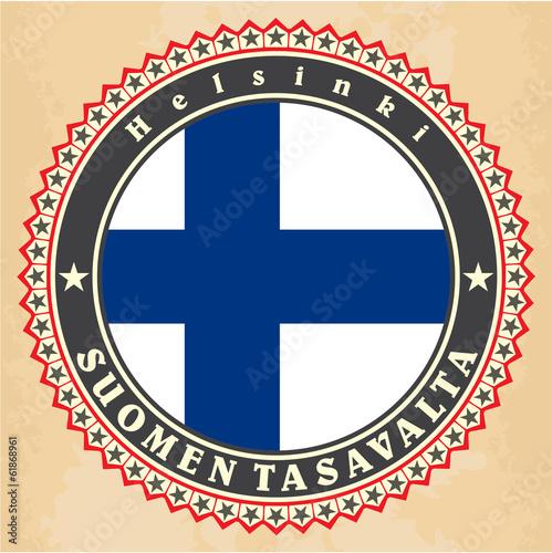 Fotografie, Obraz  Vintage label cards of  Finland flag.