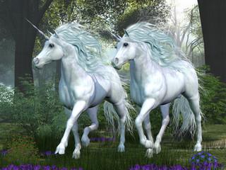 Obraz na płótnie Canvas Unicorn Elm Forest