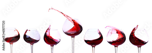 Pinturas sobre lienzo  Red wine isolated on white