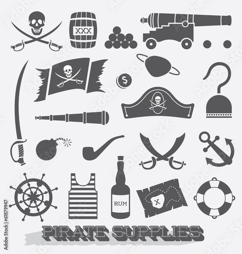 Valokuva  Vector Set: Pirate Supplies Icons and Symbols