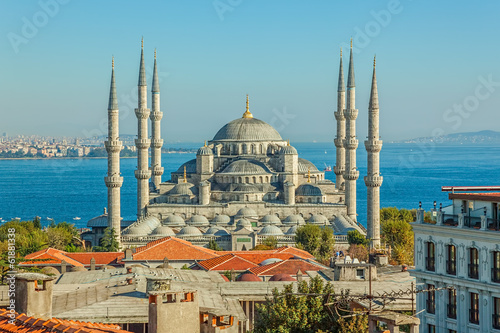 Printed kitchen splashbacks Turkey Blue mosque Istanbul