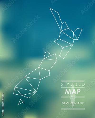 Fotografía Stylized map of New Zealand