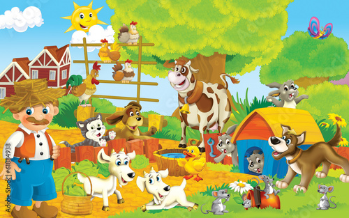 Poster Ranch Cartoon farm - illustration for the children