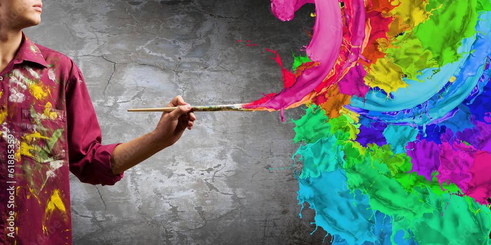 Fototapety, obrazy: Man painter