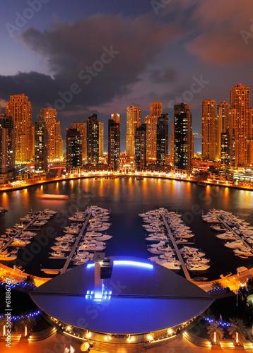 Photo  Dubai Marina at Dusk showing numerous skyscrapers