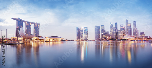 Photo  Panoramic image of Singapore`s skyline at night.