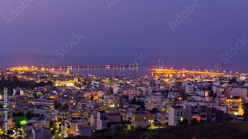 Poster Turquie Rethymno harbor at twilight, island of Crete