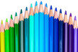 Row of colour drawing pencils, crayons