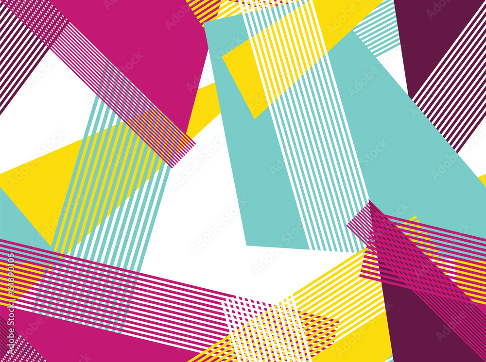 Seamless Pattern colorful stripes polygons