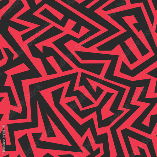 Fotografie, Obraz red tribal seamless pattern