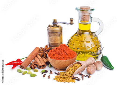 Canvas Prints Spices still life with spices and olive oil isolated on white