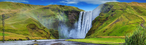 beautiful torrent of skogafoss... Wallpaper Mural