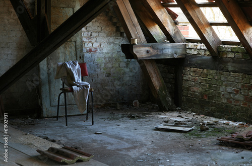 Recess Fitting Old Hospital Beelitz Abandoned attic room