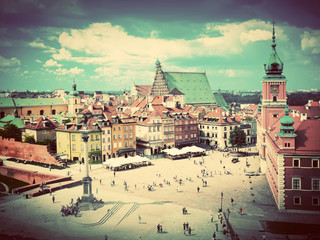 FototapetaOld town in Warsaw, Poland. Vintage