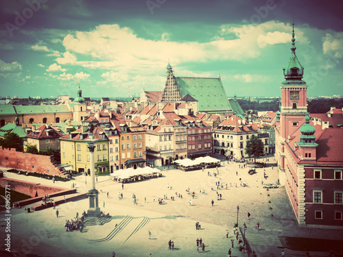 Old town in Warsaw, Poland. Vintage