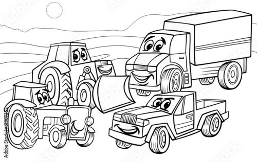 Staande foto Cartoon cars vehicles machines cartoon coloring page